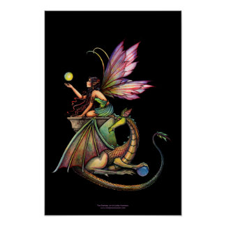 Dragon's Orbs Gothic Fairy Dragon Poster