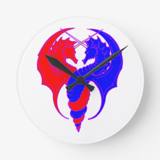 Dragons red blue dragee ONS talk blue Round Clock