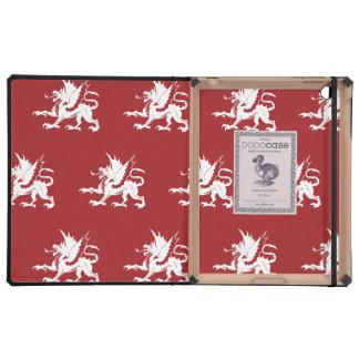 Dragons red white iPad folio case