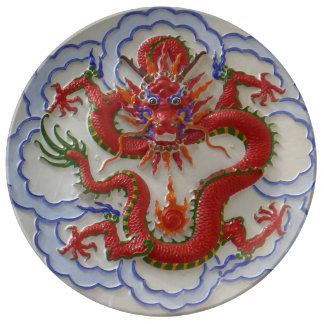 Dragons, Snakes and Fire Porcelain Plate