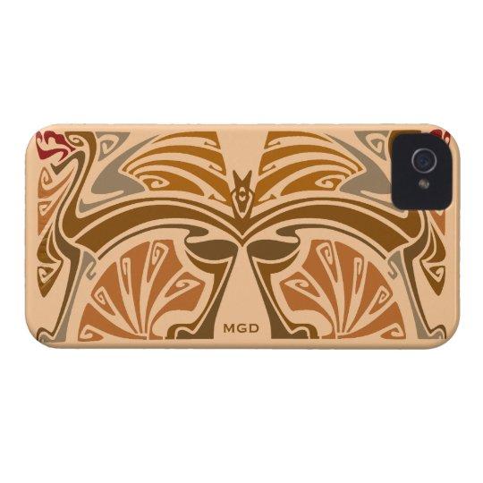 Dragons Vintage art nouveau brown monogram Case-Mate iPhone 4 Case