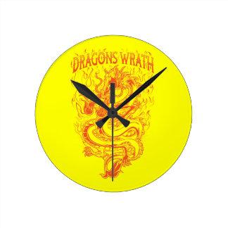 Dragons Wrath Orange Round Clock