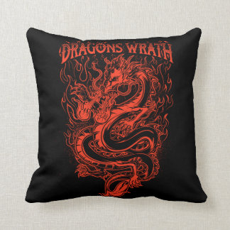 Dragons Wrath Red Throw Pillow