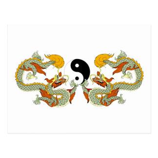 Dragons Ying Yang Gift Post Card