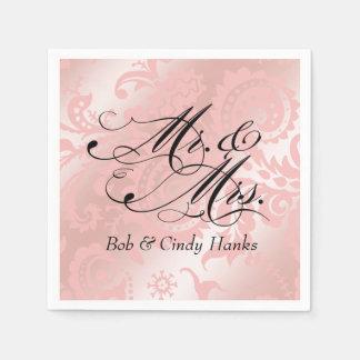 Dragontail Paisley Metallic Mr. & Mrs. | pink Paper Napkin