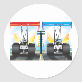 dragsters classic round sticker