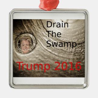 Drain The Swamp Trump-Clinton Political Design Metal Ornament