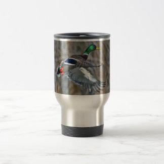 Drake mallard in flight travel mug