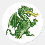 Draken Green Round Stickers