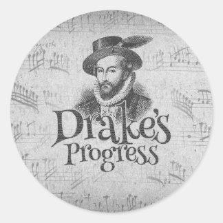 Drake's Progress guitar case sticker. Classic Round Sticker