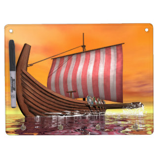 Drakkar or viking ship - 3D render Dry Erase Board With Keychain Holder
