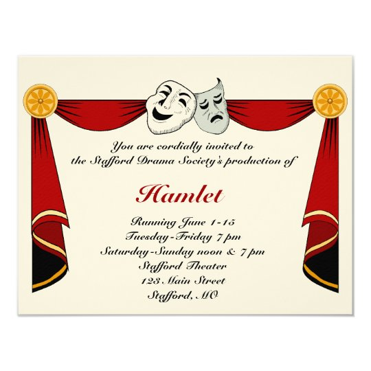 Drama and Theater Invitation Zazzlecom