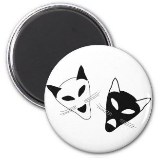 Drama Cat Masks 2 Inch Round Magnet