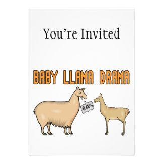 Drama de la llama del bebé invitaciones personalizada