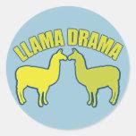 Drama de la llama pegatina redonda