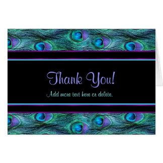 Drama de la pluma del pavo real - gracias tarjeta de felicitación