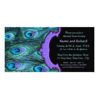 Drama de la pluma del pavo real - invitación de la tarjeta personal