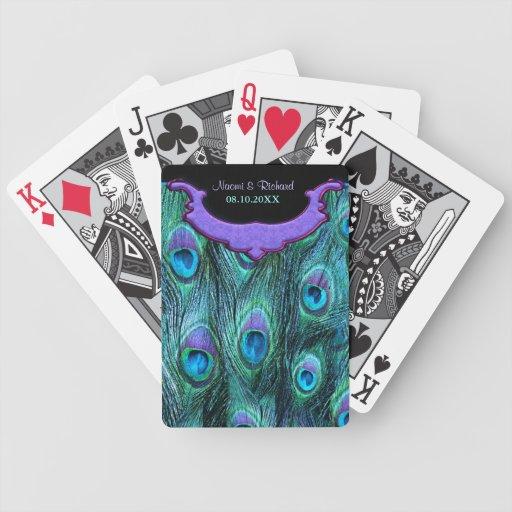 Drama de la pluma del pavo real - personalizar cartas de juego
