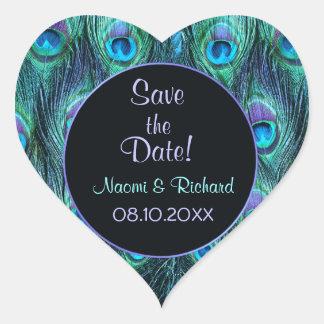 Drama de la pluma del pavo real - sello del boda - pegatina corazon personalizadas