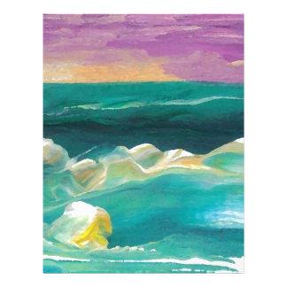 Drama de Sun en el paisaje marino de las olas Membrete