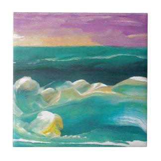 Drama de Sun en el paisaje marino de las olas oceá Tejas Cerámicas