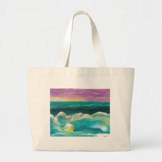 Drama de Sun en el paisaje marino de las olas oceá Bolsa