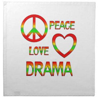 Drama del amor de la paz servilleta