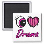 Drama del amor del corazón I del ojo de Emo Imanes De Nevera