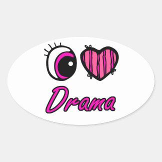 Drama del amor del corazón I del ojo de Emo Colcomanias De Oval Personalizadas