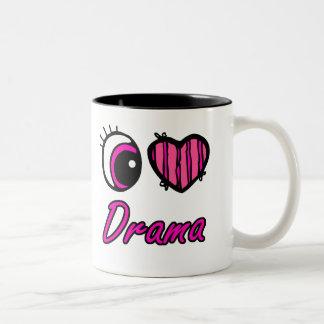 Drama del amor del corazón I del ojo de Emo Tazas De Café