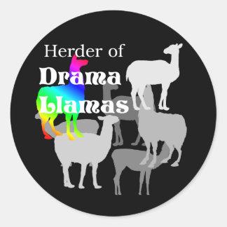 Drama Llama Herder Classic Round Sticker