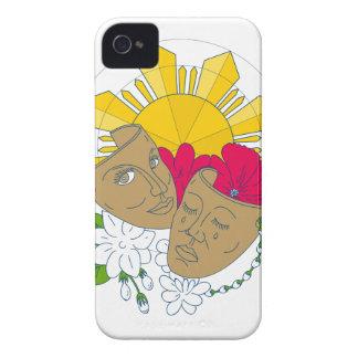 Drama Mask Philippine Sun Hibiscus Sampaguita Flow iPhone 4 Case