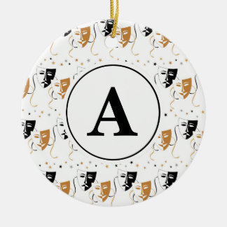 Drama Mask Theatre Themed Monogram Ceramic Ornament