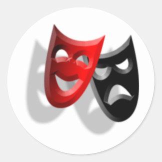 Drama Masks Classic Round Sticker