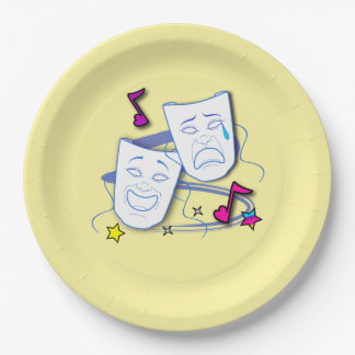 Drama Masks: Comedy and Tragedy Paper Plate