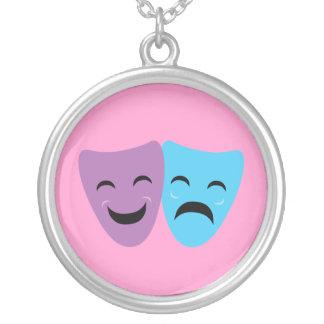 Drama Masks Round Pendant Necklace