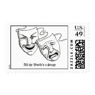 drama masks stamp