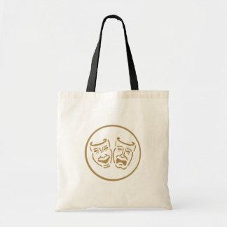 Drama Masks (White & Gold) Budget Tote Bag