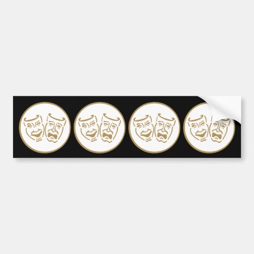 Drama Masks (White & Gold) Bumper Stickers