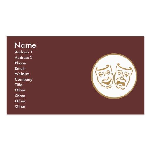 Drama Masks (White & Gold) Business Cards