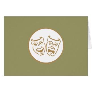 Drama Masks (White & Gold) Card