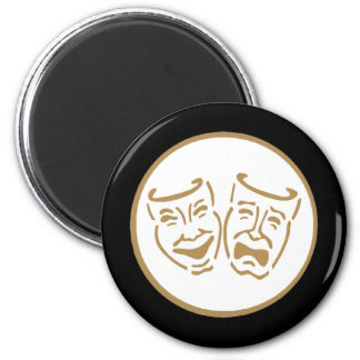 Drama Masks (White & Gold) Fridge Magnet
