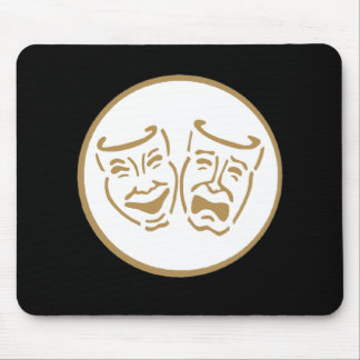 Drama Masks (White & Gold) Mouse Pads