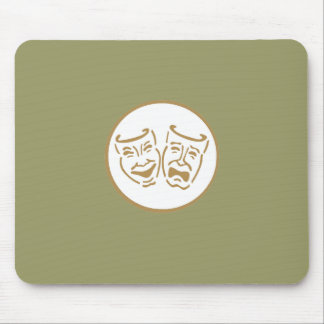 Drama Masks (White & Gold) Mouse Pad