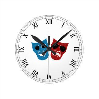Drama Masks with Sunglasses Round Wallclocks
