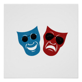 Drama Masks with Sunglasses Poster