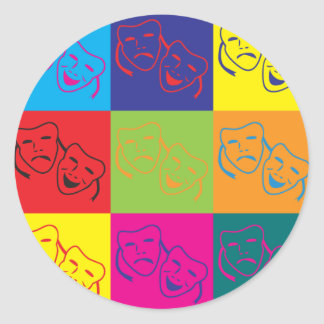 Drama Pop Art Classic Round Sticker