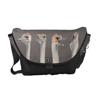 """""""Drama Queen"""" Funny Ostriches Painting Courier Bag"""