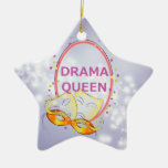 Drama Queen Stars Theater Masks Double-Sided Star Ceramic Christmas Ornament