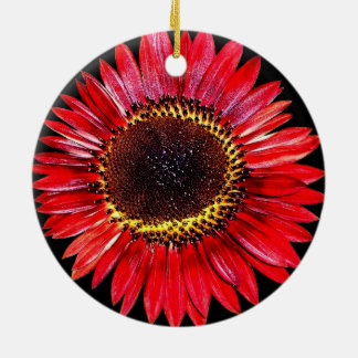 Dramatic Abstract Red Autumn Beauty Sunflower Christmas Tree Ornament